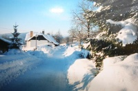 Cottage in the Bohemian forest - surroundings in winter